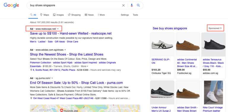 sem marketing listing, sem serp results, sem search ads shopping ads