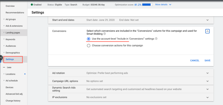 google ads campaign settings include in conversions